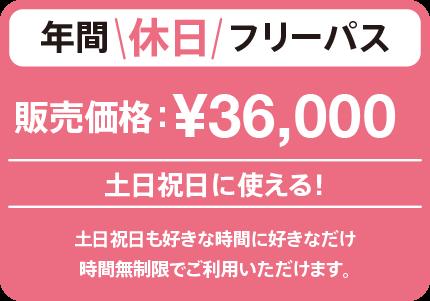 土曜、日曜、祝日に使える!年間休日フリーパス ¥36,000(税込)