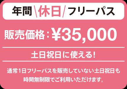 土曜、日曜、祝日に使える!年間休日フリーパス ¥35,000(税込)