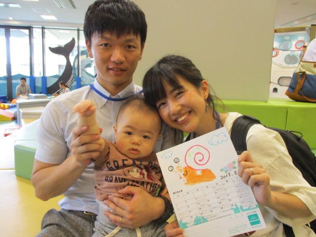赤ちゃんの日「手形で7月カレンダー作り」
